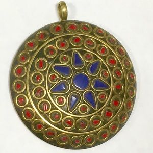 Jewelry - Huge Tibetan pendant encrusted with coral & lapis